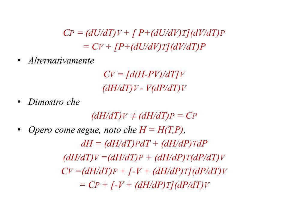 CP = (dU/dT)V + [ P+(dU/dV)T](dV/dT)P = CV + [P+(dU/dV)T](dV/dT)P